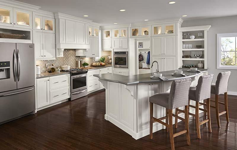 Велика біло-сіра кухня - кухні на замовлення фото