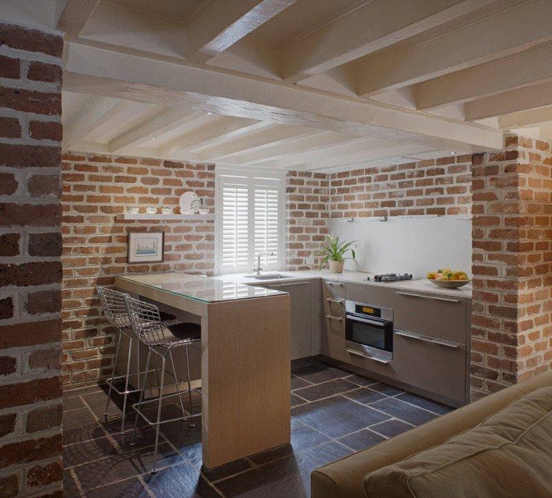 кухня стіни цегла