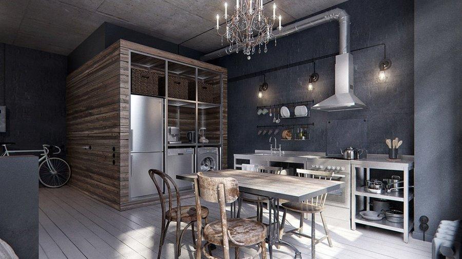 Кухня в стилі лофт фото кухні.If-3