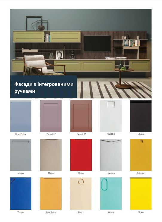 Фасади з інтегрованими ручками фото Кухні.IF